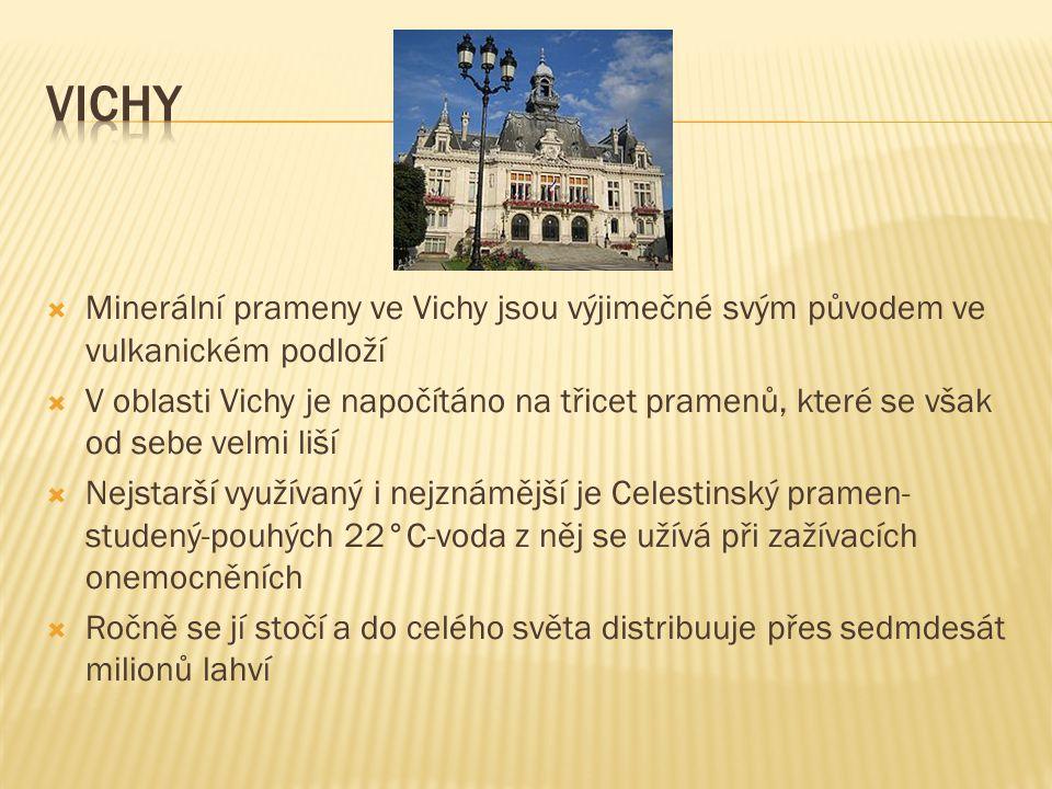  Minerální prameny ve Vichy jsou výjimečné svým původem ve vulkanickém podloží  V oblasti Vichy je napočítáno na třicet pramenů, které se však od se