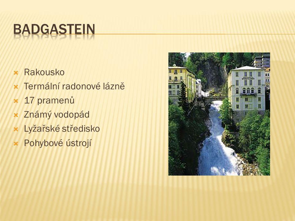  Rakousko  Termální radonové lázně  17 pramenů  Známý vodopád  Lyžařské středisko  Pohybové ústrojí