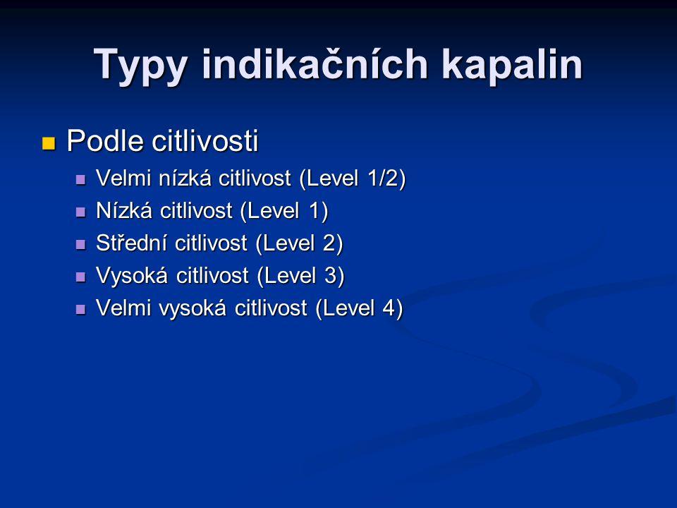 Typy indikačních kapalin Podle citlivosti Podle citlivosti Velmi nízká citlivost (Level 1/2) Velmi nízká citlivost (Level 1/2) Nízká citlivost (Level