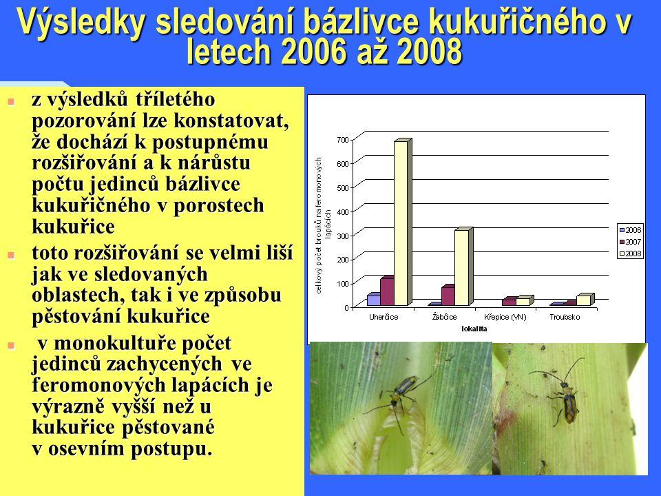 Výsledky sledování bázlivce kukuřičného v letech 2006 až 2008 n z výsledků tříletého pozorování lze konstatovat, že dochází k postupnému rozšiřování a k nárůstu počtu jedinců bázlivce kukuřičného v porostech kukuřice n toto rozšiřování se velmi liší jak ve sledovaných oblastech, tak i ve způsobu pěstování kukuřice n v monokultuře počet jedinců zachycených ve feromonových lapácích je výrazně vyšší než u kukuřice pěstované v osevním postupu.
