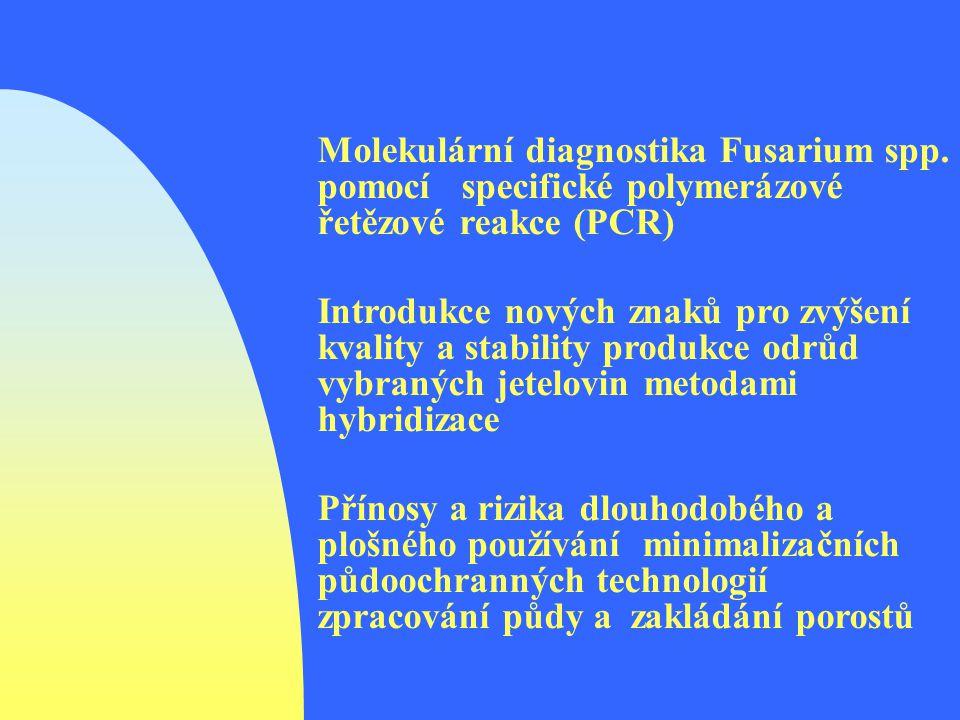 Molekulární diagnostika Fusarium spp. pomocí specifické polymerázové řetězové reakce (PCR) Introdukce nových znaků pro zvýšení kvality a stability pro