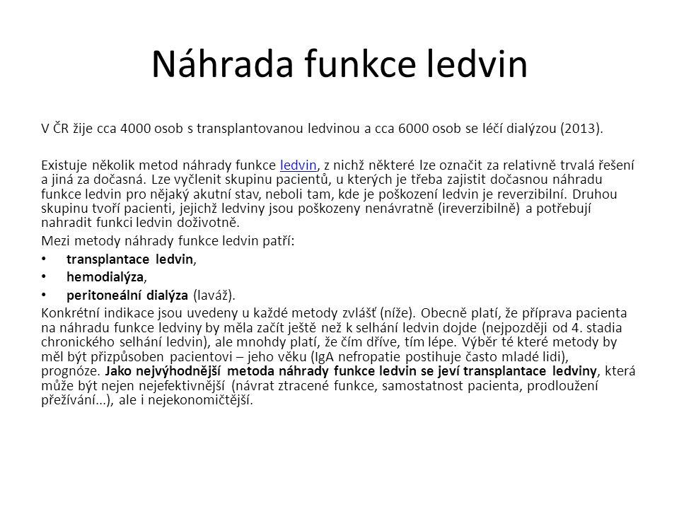 V ČR žije cca 4000 osob s transplantovanou ledvinou a cca 6000 osob se léčí dialýzou (2013).