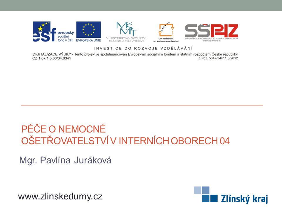 PÉČE O NEMOCNÉ OŠETŘOVATELSTVÍ V INTERNÍCH OBORECH 04 Mgr. Pavlína Juráková www.zlinskedumy.cz