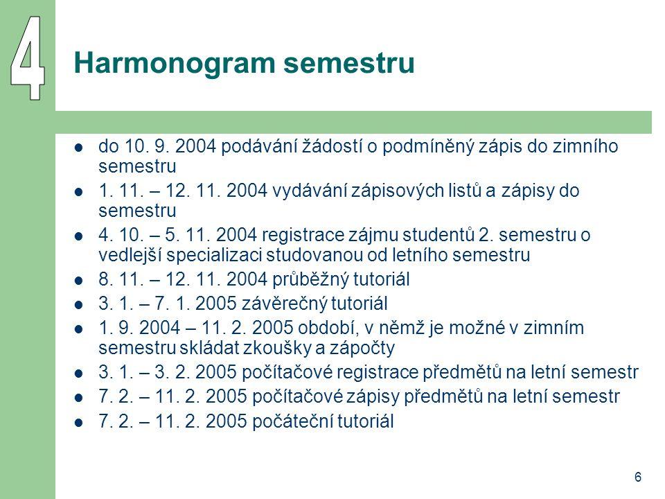 6 Harmonogram semestru do 10. 9. 2004 podávání žádostí o podmíněný zápis do zimního semestru 1.