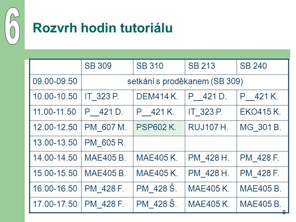 9 Registrace vedlejší specializace 4.10. – 5. 11.