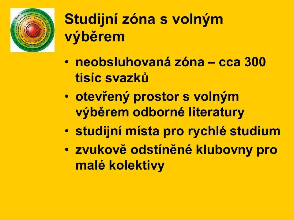 Studijní zóna s volným výběrem neobsluhovaná zóna – cca 300 tisíc svazků otevřený prostor s volným výběrem odborné literatury studijní místa pro rychl