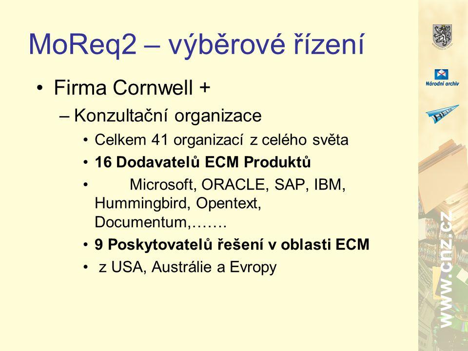 www.cnz.cz MoReq2 – výběrové řízení Firma Cornwell + –Konzultační organizace Celkem 41 organizací z celého světa 16 Dodavatelů ECM Produktů Microsoft, ORACLE, SAP, IBM, Hummingbird, Opentext, Documentum,…….