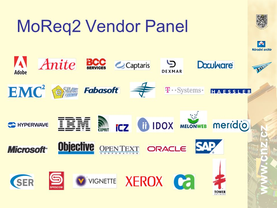 www.cnz.cz MoReq2 Vendor Panel