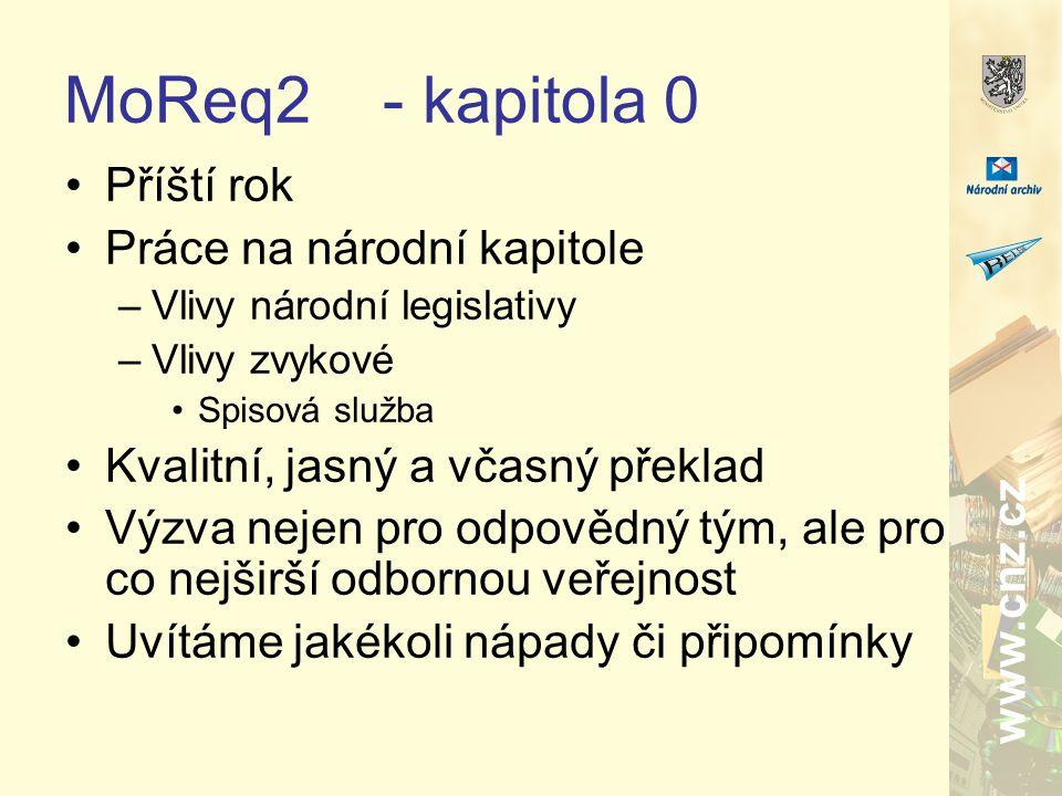 www.cnz.cz MoReq2- kapitola 0 Příští rok Práce na národní kapitole –Vlivy národní legislativy –Vlivy zvykové Spisová služba Kvalitní, jasný a včasný překlad Výzva nejen pro odpovědný tým, ale pro co nejširší odbornou veřejnost Uvítáme jakékoli nápady či připomínky