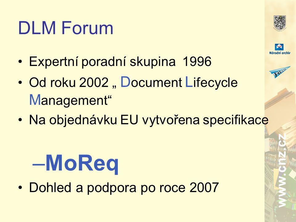 """www.cnz.cz DLM Forum Expertní poradní skupina 1996 Od roku 2002 """" D ocument L ifecycle M anagement Na objednávku EU vytvořena specifikace –MoReq Dohled a podpora po roce 2007"""