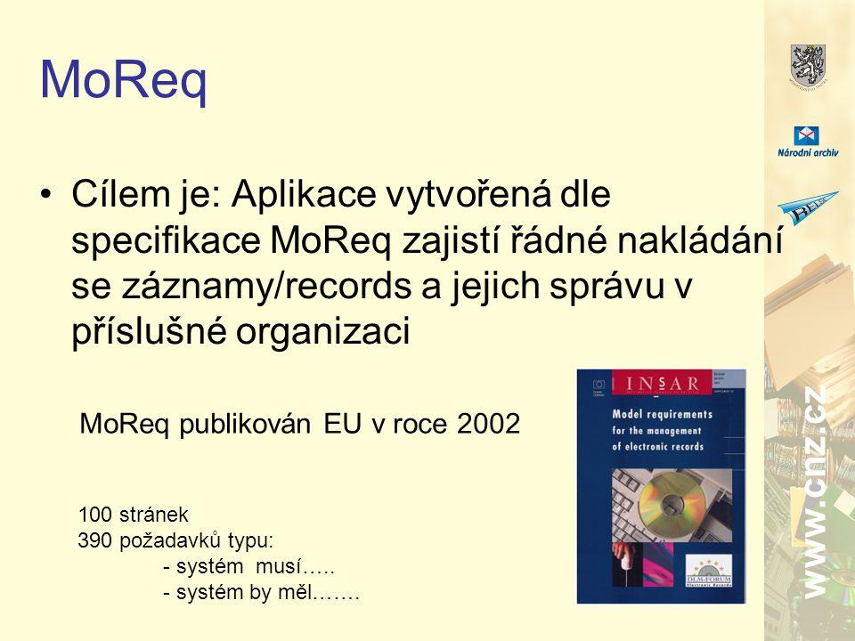 www.cnz.cz MoReq Cílem je: Aplikace vytvořená dle specifikace MoReq zajistí řádné nakládání se záznamy/records a jejich správu v příslušné organizaci MoReq publikován EU v roce 2002 100 stránek 390 požadavků typu: - systém musí…..
