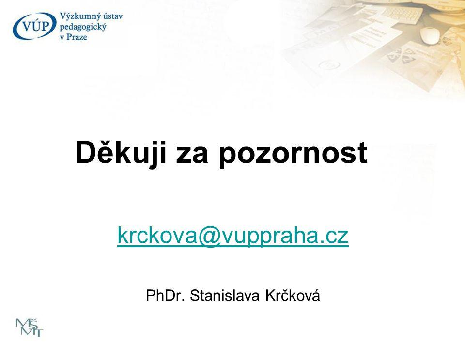 Děkuji za pozornost krckova@vuppraha.cz PhDr. Stanislava Krčková