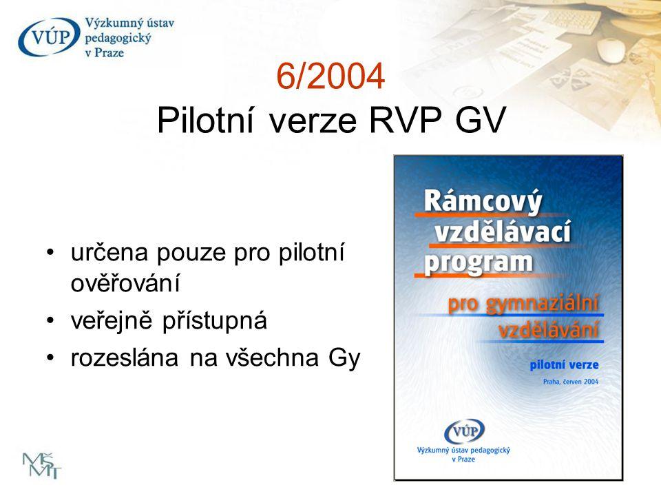 6/2004 Pilotní verze RVP GV určena pouze pro pilotní ověřování veřejně přístupná rozeslána na všechna Gy