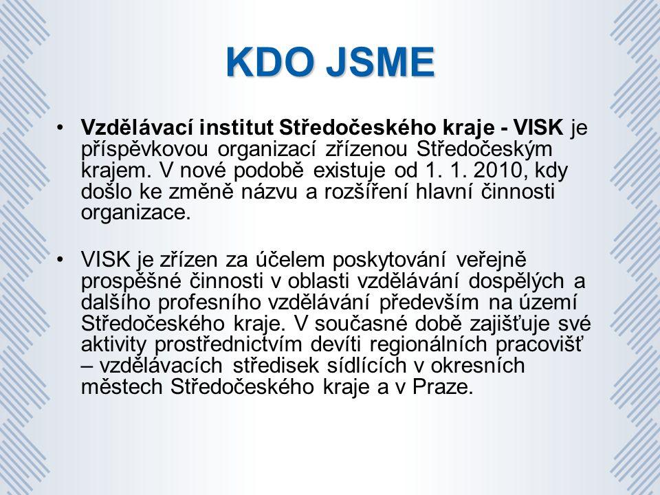 KDO JSME Vzdělávací institut Středočeského kraje - VISK je příspěvkovou organizací zřízenou Středočeským krajem.