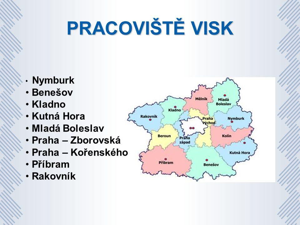 PRACOVIŠTĚ VISK Nymburk Benešov Kladno Kutná Hora Mladá Boleslav Praha – Zborovská Praha – Kořenského Příbram Rakovník