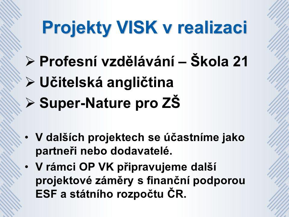 Projekty VISK v realizaci  Profesní vzdělávání – Škola 21  Učitelská angličtina  Super-Nature pro ZŠ V dalších projektech se účastníme jako partneři nebo dodavatelé.