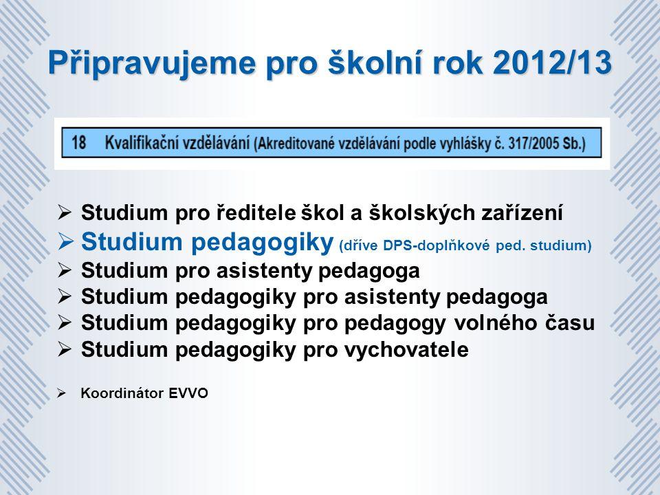 Připravujeme pro školní rok 2012/13  Studium pro ředitele škol a školských zařízení  Studium pedagogiky (dříve DPS-doplňkové ped.