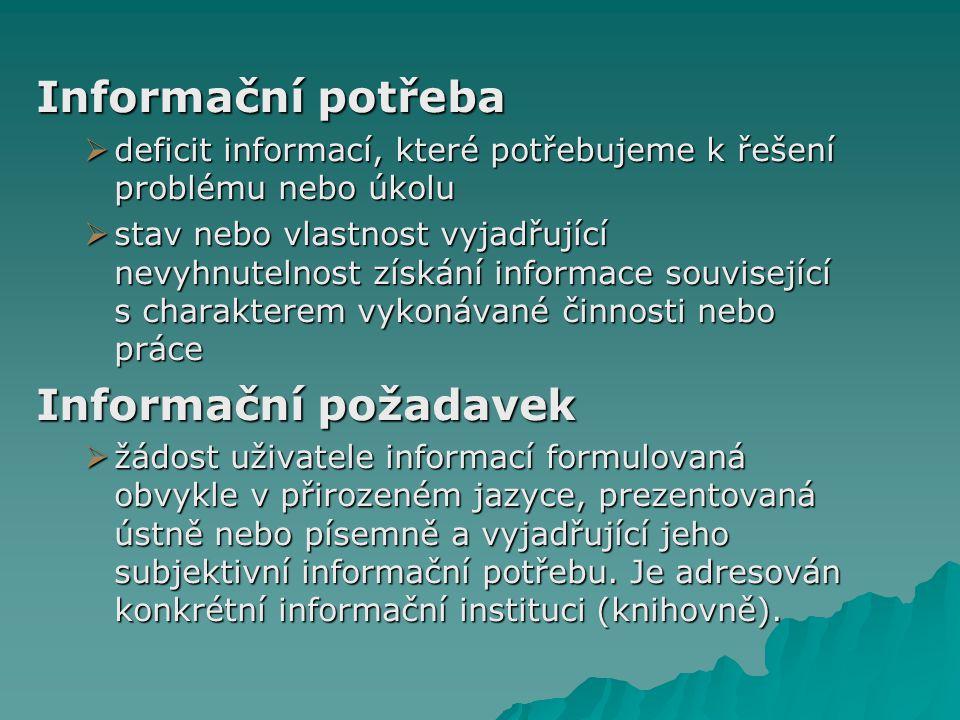 Informační potřeby V informační společnosti se stává potřeba relevantních inf., jejich přístupnost, správné zpracování a přenos základní podmínkou života.