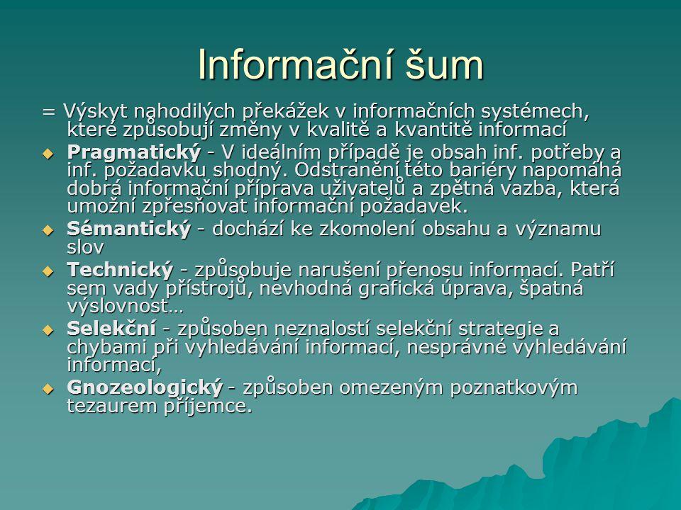 Druhy informačních potřeb  Osobní informační potřeby – potřeba inf.