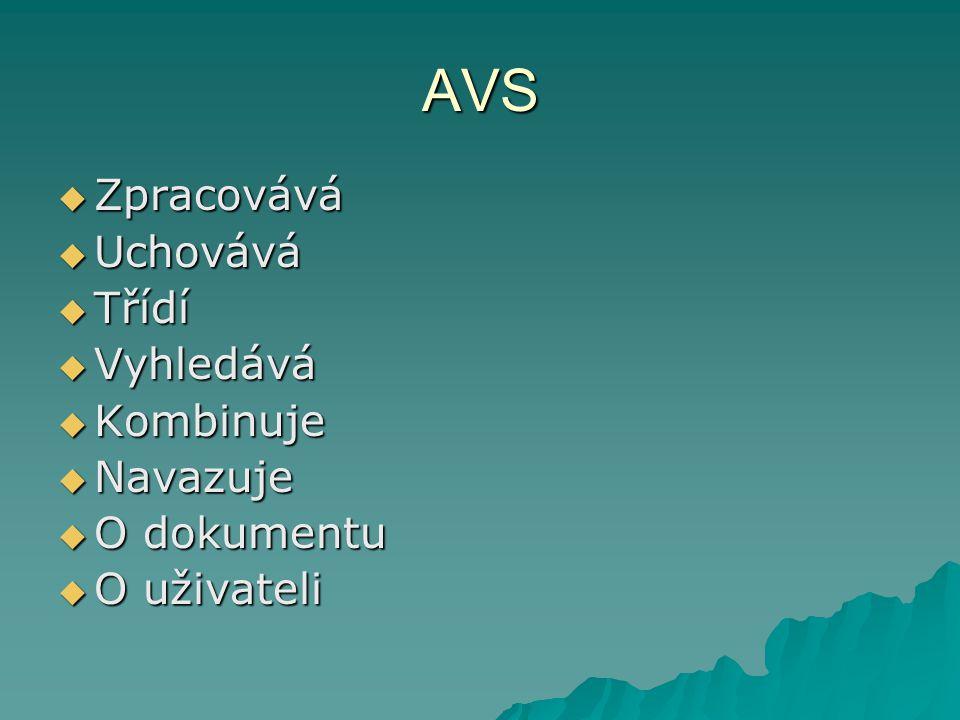 AVS Výhody  Čas  Efektivita  Málo chyb  Provázanost Nevýhody – technické problémy