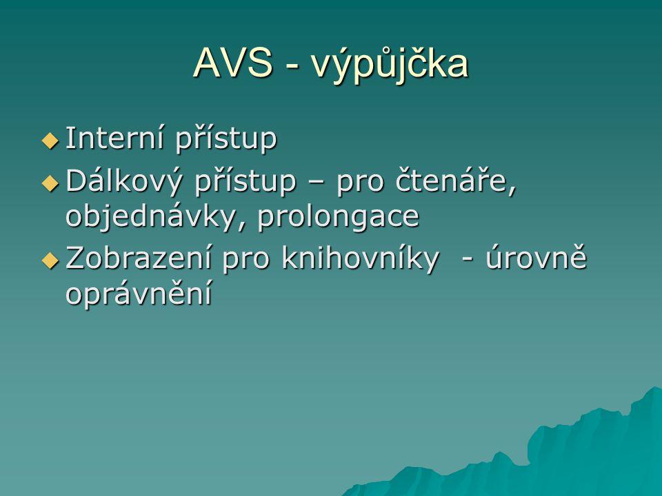 AVS Liší se podle potřeb knihoven ( malé, střední, velké knihovny) Např.