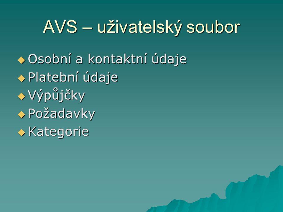 AVS - výpůjčka  Interní přístup  Dálkový přístup – pro čtenáře, objednávky, prolongace  Zobrazení pro knihovníky - úrovně oprávnění
