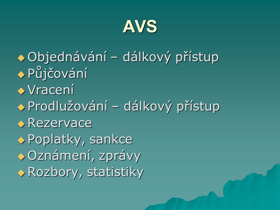 AVS – dokumentový soubor  Signatura  Kód  Způsob půjčení  Místo uložení  Výpůjční doba  Současný stav  Rezervace  Poznámky