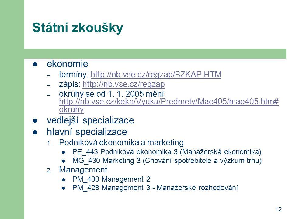 12 Státní zkoušky ekonomie – termíny: http://nb.vse.cz/regzap/BZKAP.HTMhttp://nb.vse.cz/regzap/BZKAP.HTM – zápis: http://nb.vse.cz/regzaphttp://nb.vse.cz/regzap – okruhy se od 1.