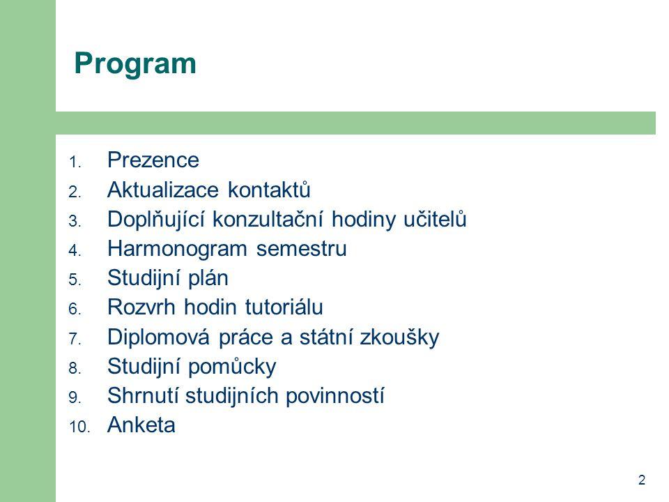 2 Program 1. Prezence 2. Aktualizace kontaktů 3. Doplňující konzultační hodiny učitelů 4. Harmonogram semestru 5. Studijní plán 6. Rozvrh hodin tutori