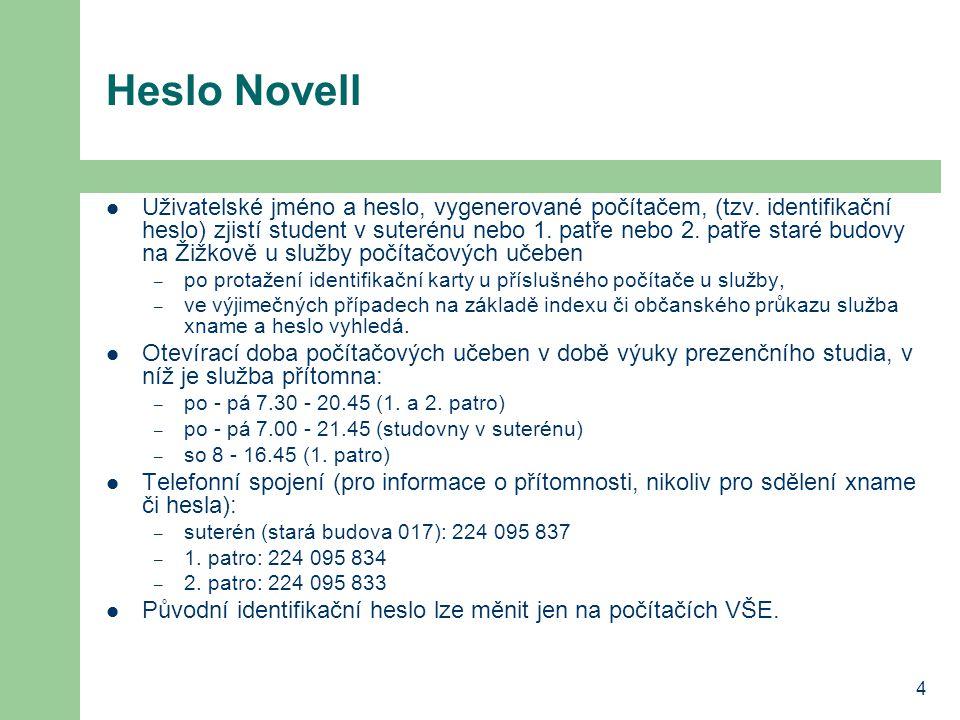 4 Heslo Novell Uživatelské jméno a heslo, vygenerované počítačem, (tzv. identifikační heslo) zjistí student v suterénu nebo 1. patře nebo 2. patře sta