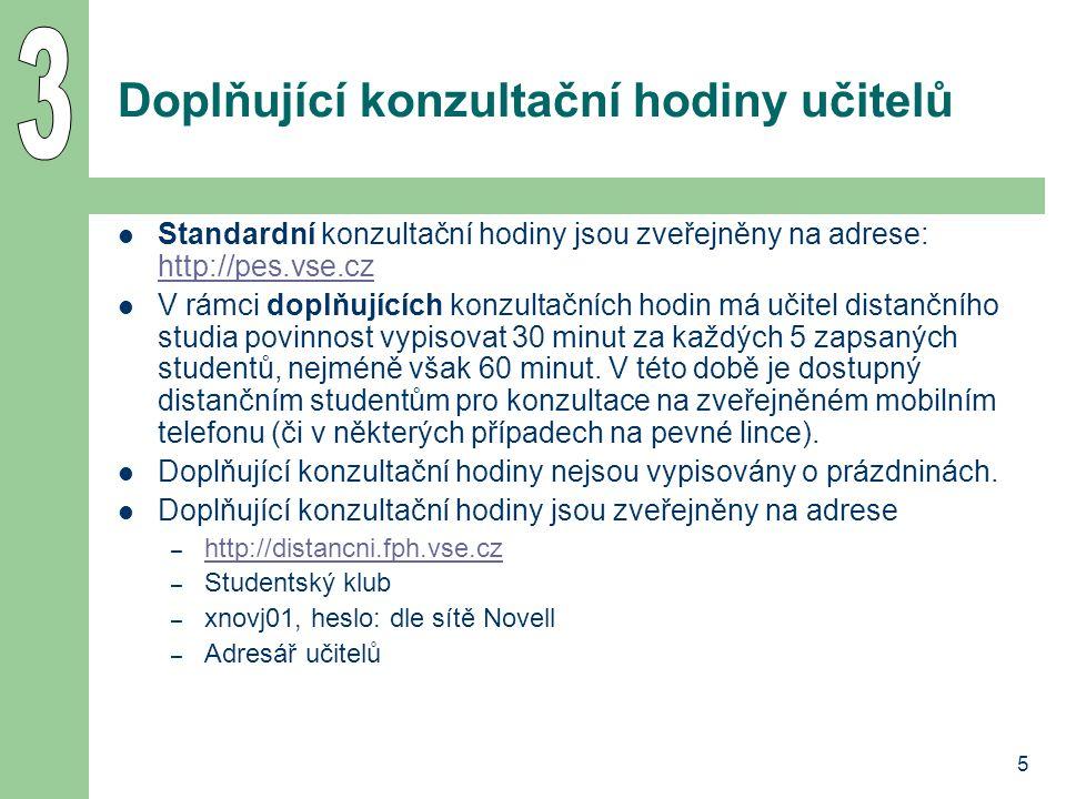 5 Doplňující konzultační hodiny učitelů Standardní konzultační hodiny jsou zveřejněny na adrese: http://pes.vse.cz http://pes.vse.cz V rámci doplňujíc