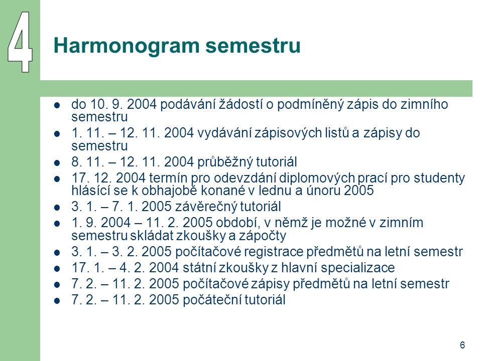 6 Harmonogram semestru do 10. 9. 2004 podávání žádostí o podmíněný zápis do zimního semestru 1. 11. – 12. 11. 2004 vydávání zápisových listů a zápisy
