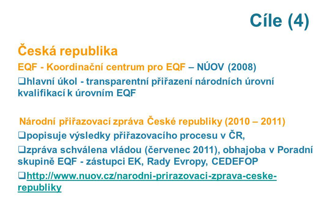 Cíle (4) Česká republika EQF - Koordinační centrum pro EQF – NÚOV (2008)  hlavní úkol - transparentní přiřazení národních úrovní kvalifikací k úrovní