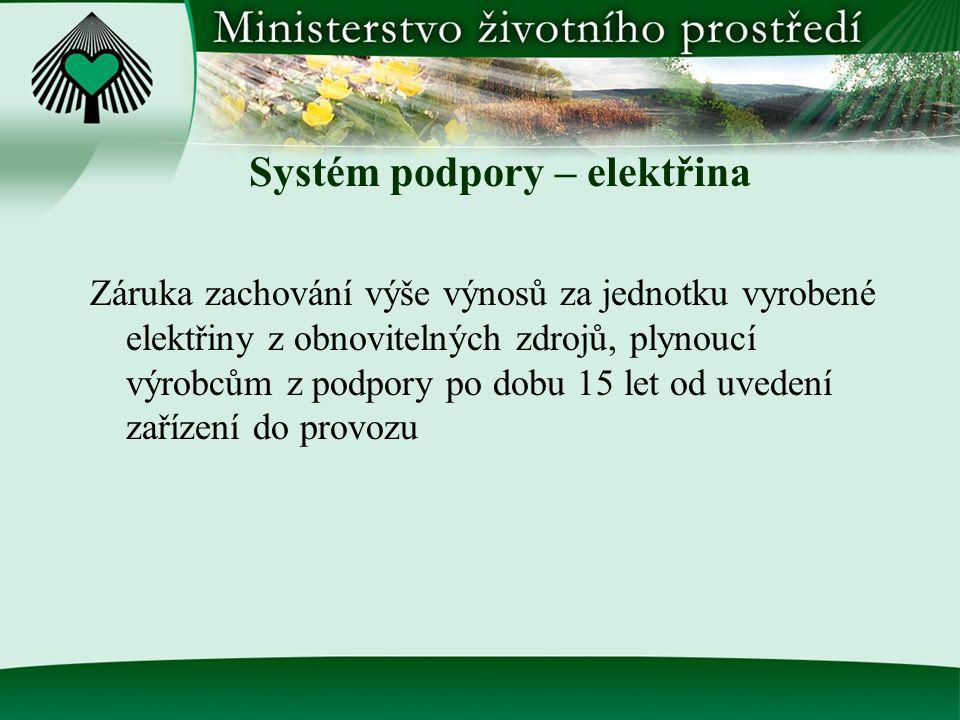 Systém podpory – elektřina Záruka zachování výše výnosů za jednotku vyrobené elektřiny z obnovitelných zdrojů, plynoucí výrobcům z podpory po dobu 15 let od uvedení zařízení do provozu
