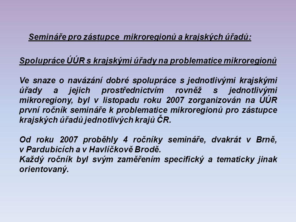 Spolupráce ÚÚR s krajskými úřady na problematice mikroregionů Ve snaze o navázání dobré spolupráce s jednotlivými krajskými úřady a jejich prostřednictvím rovněž s jednotlivými mikroregiony, byl v listopadu roku 2007 zorganizován na ÚÚR první ročník semináře k problematice mikroregionů pro zástupce krajských úřadů jednotlivých krajů ČR.