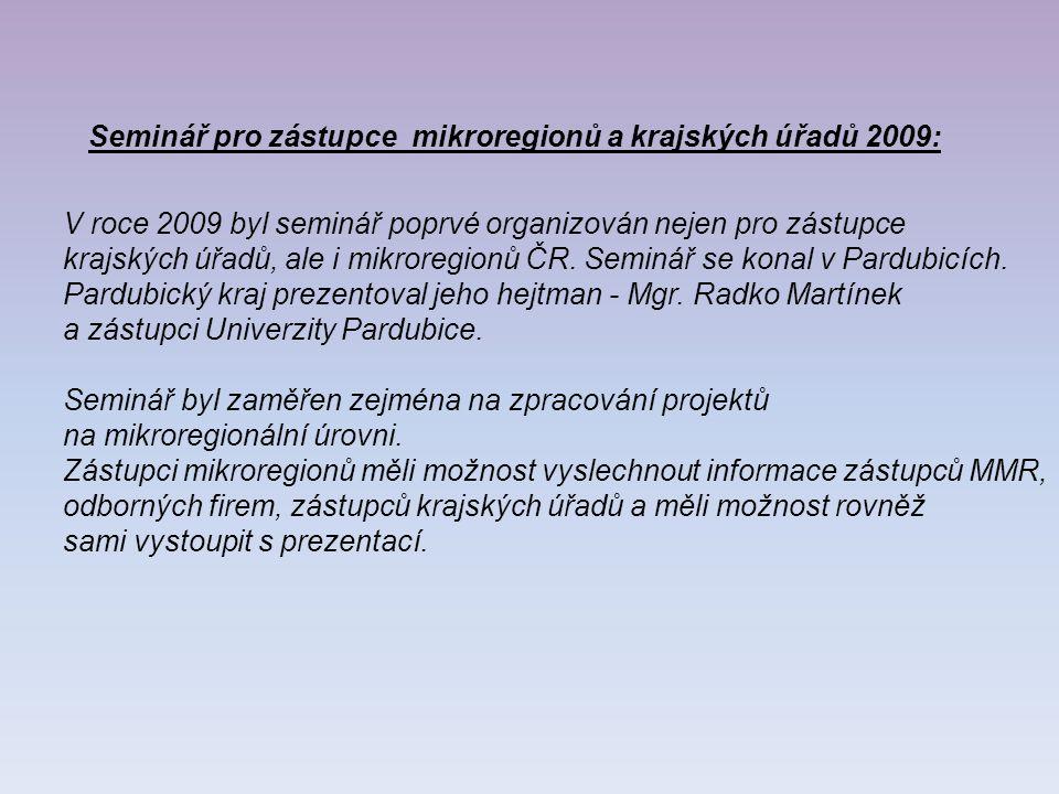 Seminář pro zástupce mikroregionů a krajských úřadů 2009: V roce 2009 byl seminář poprvé organizován nejen pro zástupce krajských úřadů, ale i mikroregionů ČR.