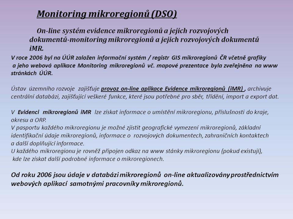 Monitoring mikroregionů (DSO) On-line systém evidence mikroregionů a jejich rozvojových dokumentů-monitoring mikroregionů a jejich rozvojových dokumentů iMR.