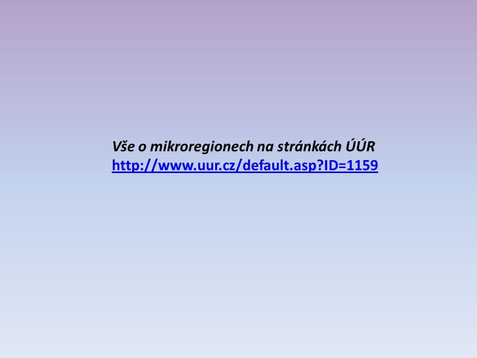 Vše o mikroregionech na stránkách ÚÚR http://www.uur.cz/default.asp ID=1159