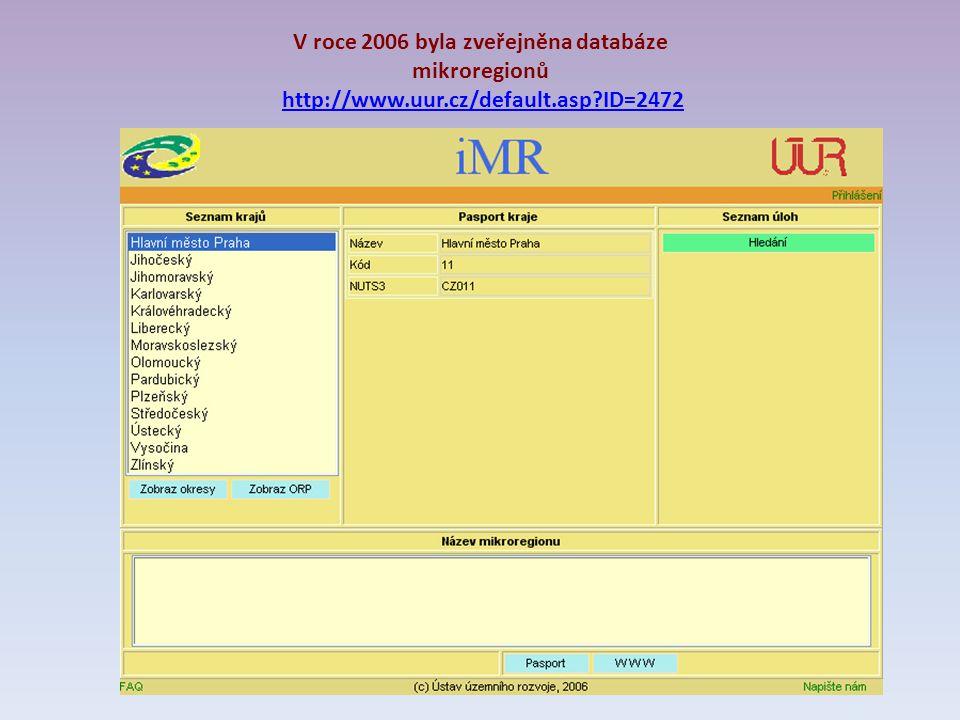 V roce 2006 byla zveřejněna databáze mikroregionů http://www.uur.cz/default.asp ID=2472http://www.uur.cz/default.asp ID=2472