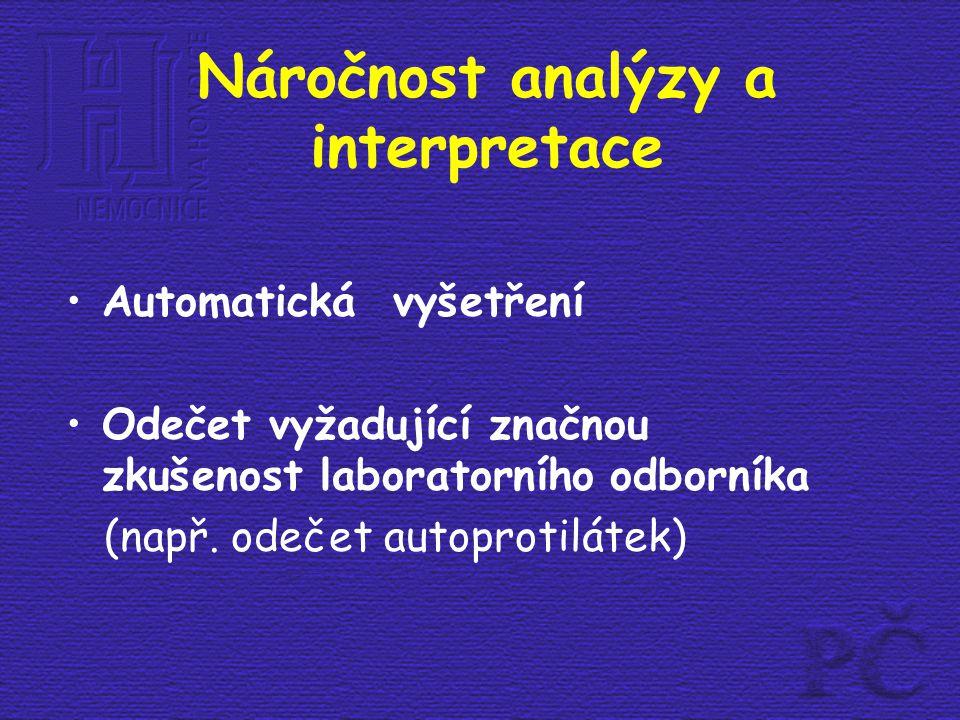 Náročnost analýzy a interpretace Automatická vyšetření Odečet vyžadující značnou zkušenost laboratorního odborníka (např. odečet autoprotilátek)