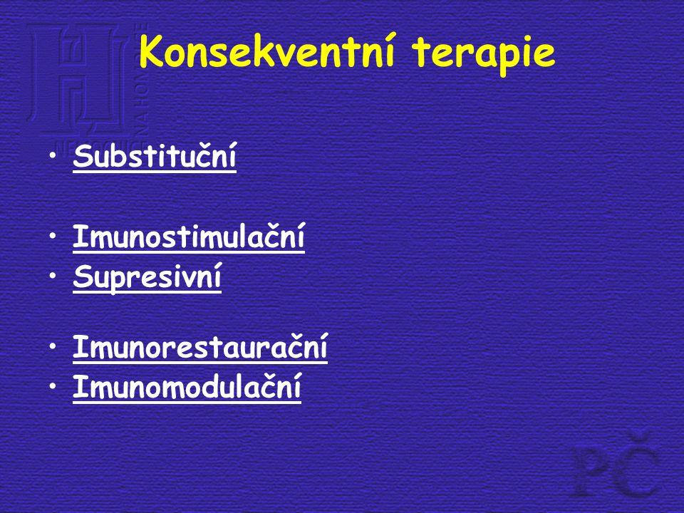Konsekventní terapie Substituční Imunostimulační Supresivní Imunorestaurační Imunomodulační