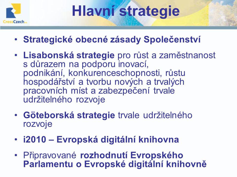 Hlavní strategie Strategické obecné zásady Společenství Lisabonská strategie pro růst a zaměstnanost s důrazem na podporu inovací, podnikání, konkurenceschopnosti, růstu hospodářství a tvorbu nových a trvalých pracovních míst a zabezpečení trvale udržitelného rozvoje Göteborská strategie trvale udržitelného rozvoje i2010 – Evropská digitální knihovna Připravované rozhodnutí Evropského Parlamentu o Evropské digitální knihovně