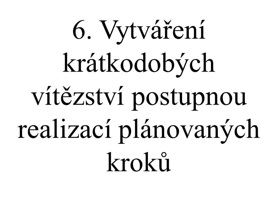 6. Vytváření krátkodobých vítězství postupnou realizací plánovaných kroků