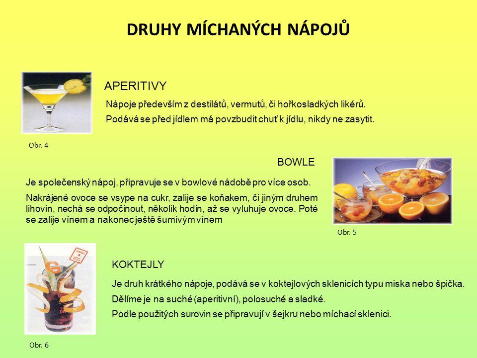 DRUHY MÍCHANÝCH NÁPOJŮ APERITIVY Nápoje především z destilátů, vermutů, či hořkosladkých likérů. Podává se před jídlem má povzbudit chuť k jídlu, nikd