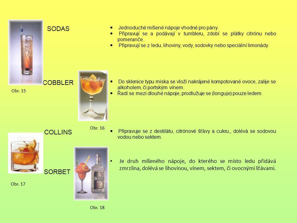 SODAS  Jednoduché míšené nápoje vhodné pro pány.  Připravují se a podávají v tumbleru, zdobí se plátky citrónu nebo pomeranče.  Připravují se z led