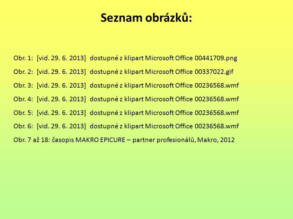 Seznam obrázků: Obr. 1: [vid. 29. 6. 2013] dostupné z klipart Microsoft Office 00441709.png Obr. 2: [vid. 29. 6. 2013] dostupné z klipart Microsoft Of