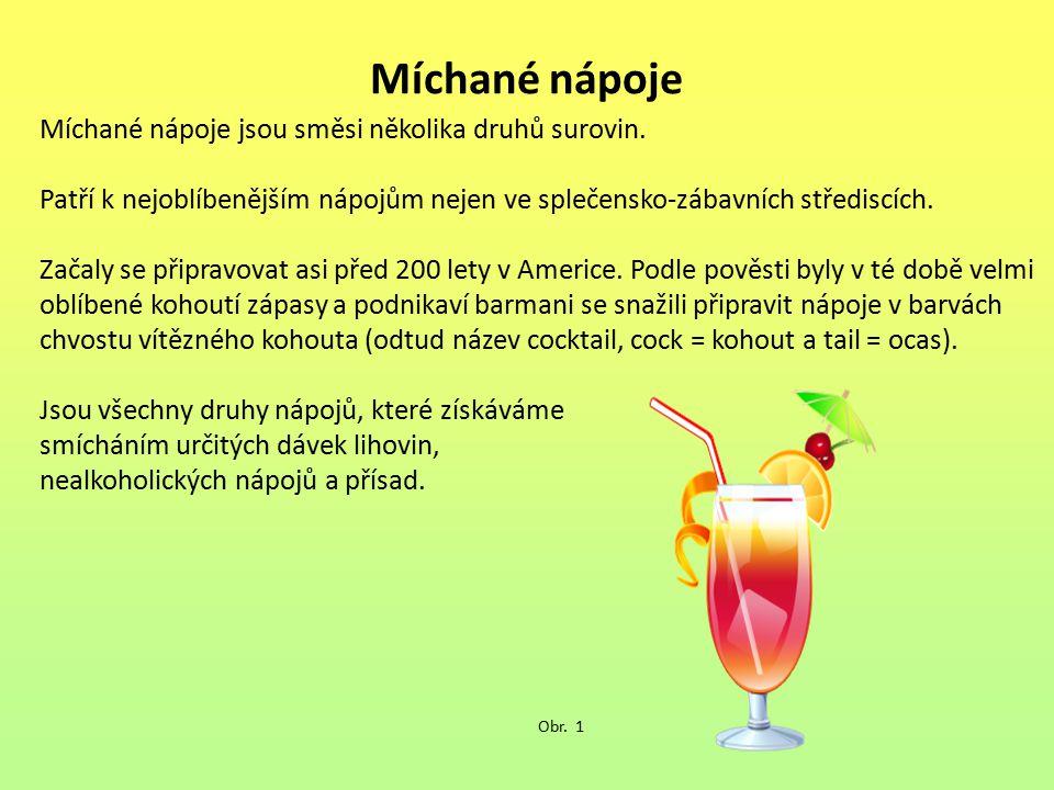 Míchané nápoje Míchané nápoje jsou směsi několika druhů surovin. Patří k nejoblíbenějším nápojům nejen ve splečensko-zábavních střediscích. Začaly se