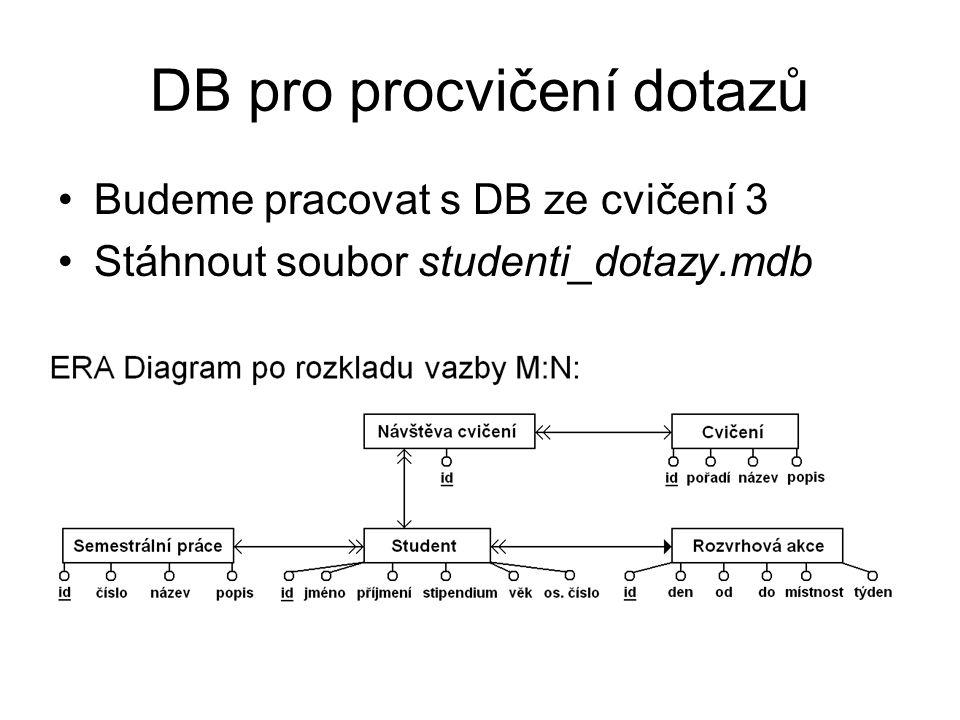 DB pro procvičení dotazů Budeme pracovat s DB ze cvičení 3 Stáhnout soubor studenti_dotazy.mdb