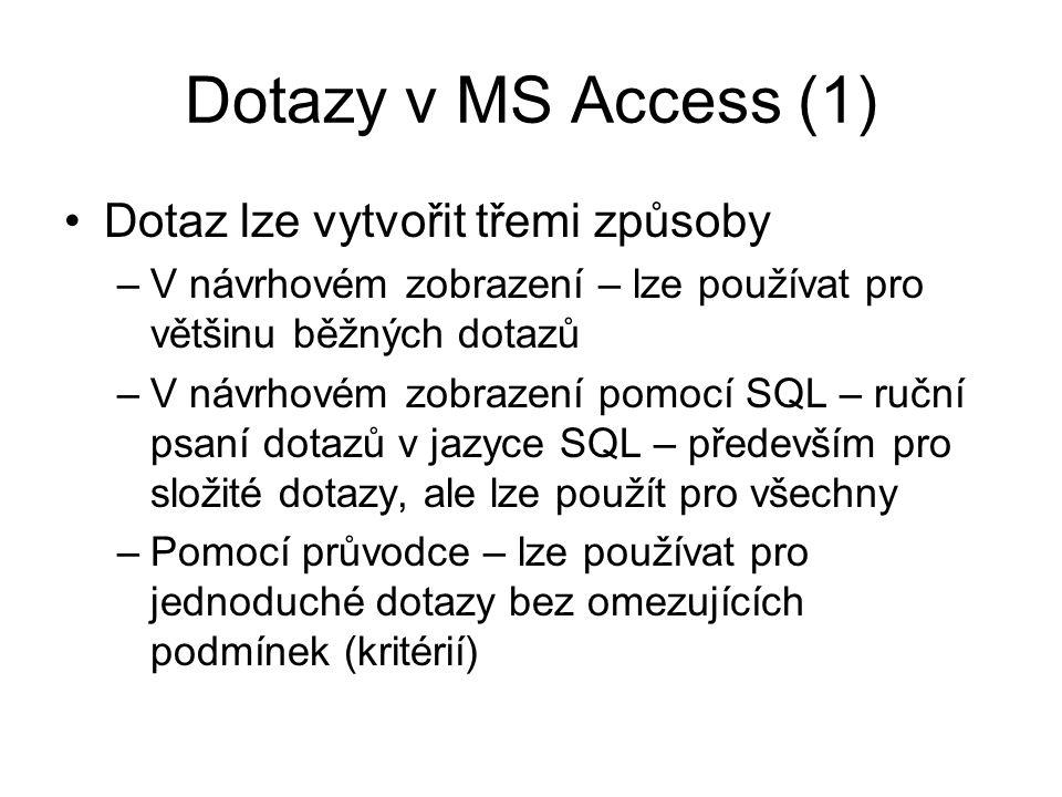 Dotazy v MS Access (1) Dotaz lze vytvořit třemi způsoby –V návrhovém zobrazení – lze používat pro většinu běžných dotazů –V návrhovém zobrazení pomocí SQL – ruční psaní dotazů v jazyce SQL – především pro složité dotazy, ale lze použít pro všechny –Pomocí průvodce – lze používat pro jednoduché dotazy bez omezujících podmínek (kritérií)