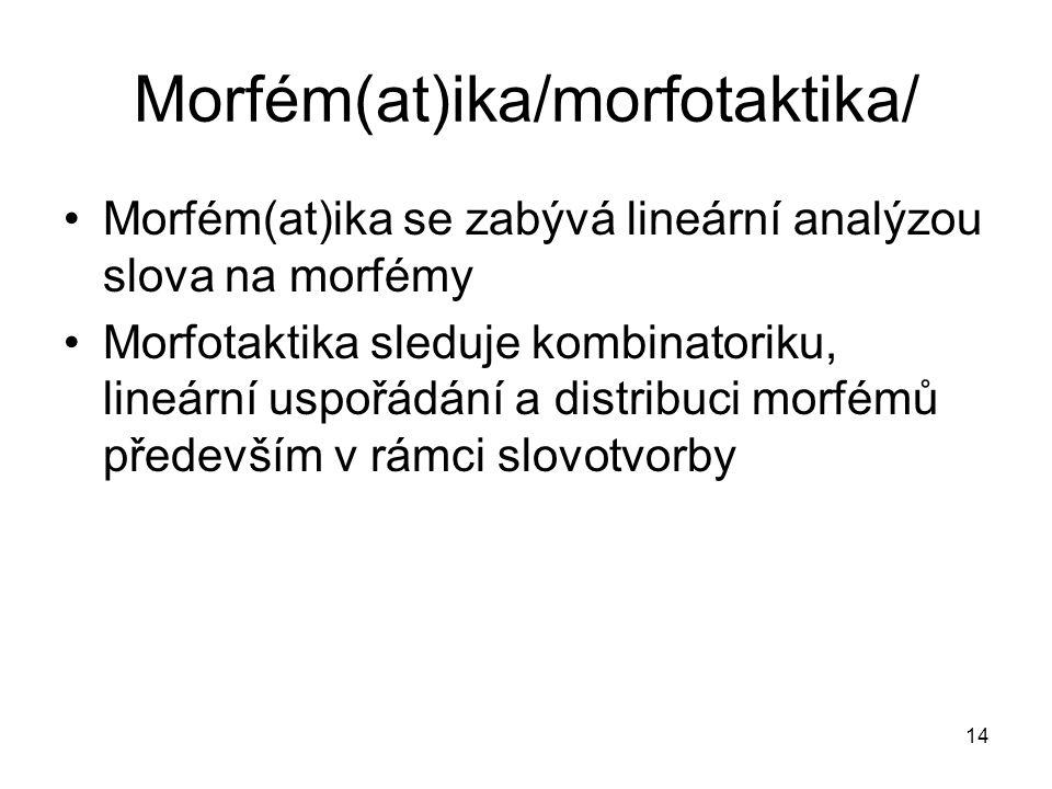 14 Morfém(at)ika/morfotaktika/ Morfém(at)ika se zabývá lineární analýzou slova na morfémy Morfotaktika sleduje kombinatoriku, lineární uspořádání a di